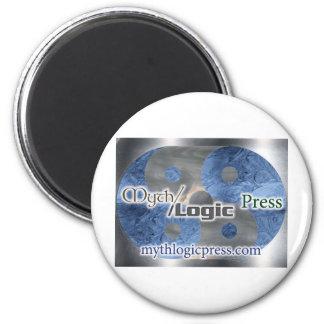 Logotipo de la prensa de la lógica del mito imán redondo 5 cm