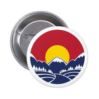 Logotipo de la puesta del sol de la montaña rocosa pin