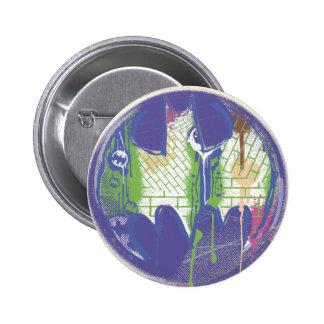 Logotipo de la púrpura del círculo del símbolo el pin redondo de 2 pulgadas