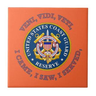 Logotipo de la reserva del guardacostas azulejo cuadrado pequeño