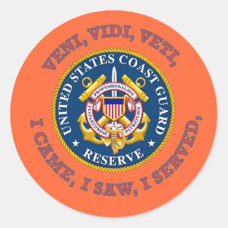 Logotipo de la reserva del guardacostas pegatina redonda