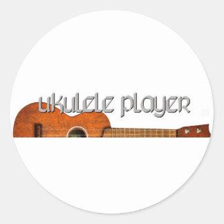 Logotipo de la revista del jugador del Ukulele Pegatina Redonda