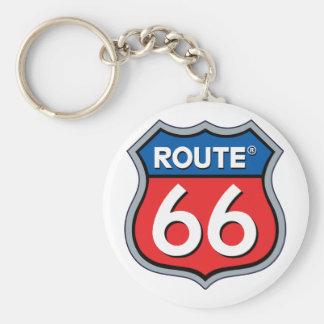 Logotipo de la ruta 66 llavero redondo tipo chapa