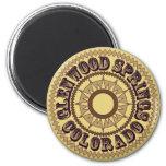 Logotipo de la sepia de la primavera de Glenwood Imán Redondo 5 Cm