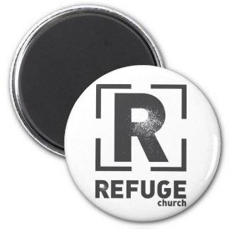 Logotipo de la tubería de la iglesia del refugio imán redondo 5 cm