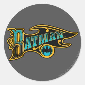 Logotipo de la turquesa del vintage de Batman el | Pegatina Redonda