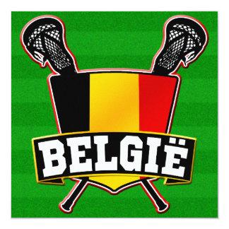 """Logotipo de LaCrosse de la bandera de Bélgica Invitación 5.25"""" X 5.25"""""""