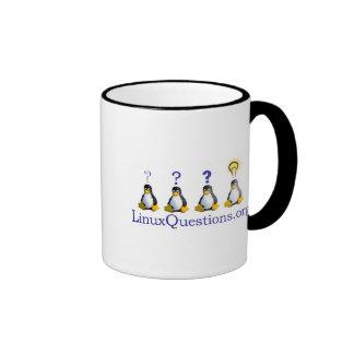 Logotipo de las preguntas de Linux Taza De Dos Colores