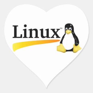 Logotipo de Linux con los productos de Tux Pegatinas Corazon