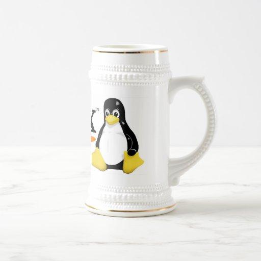Logotipo de Linux con los productos de Tux Taza