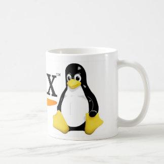 Logotipo de Linux con los productos de Tux Tazas