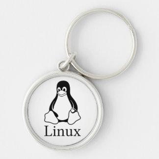 Logotipo de Linux con Tux el pingüino de Linux Llavero Redondo Plateado