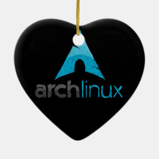 Logotipo de Linux del arco Adorno Navideño De Cerámica En Forma De Corazón