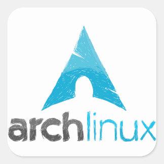 Logotipo de Linux del arco Calcomanías Cuadradass