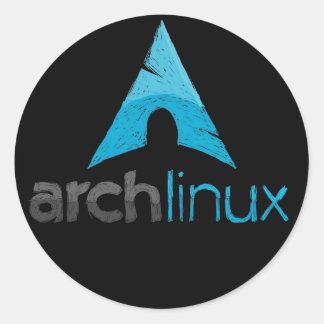 Logotipo de Linux del arco Etiqueta Redonda