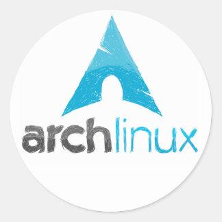 Logotipo de Linux del arco Pegatina Redonda