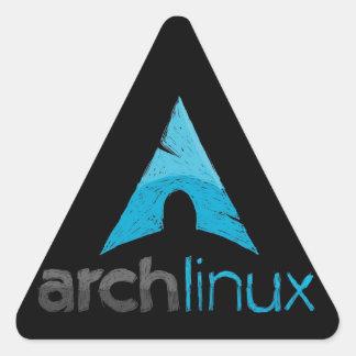 Logotipo de Linux del arco Pegatina Triangular