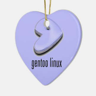 logotipo de Linux del gentoo Adorno Navideño De Cerámica En Forma De Corazón