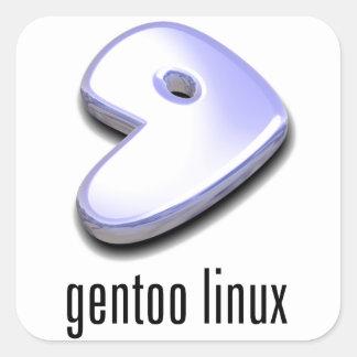 logotipo de Linux del gentoo Pegatina Cuadrada
