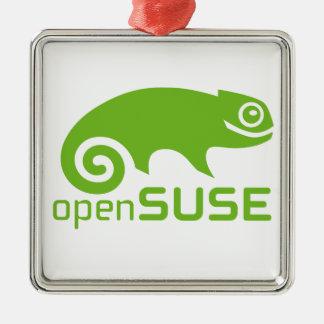 logotipo de Linux del openSuzie Adorno Navideño Cuadrado De Metal