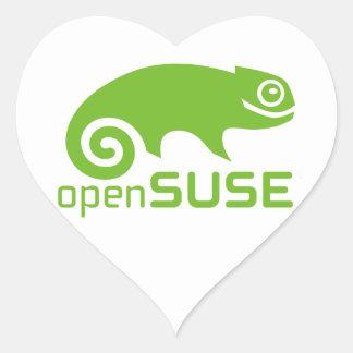 logotipo de Linux del openSuzie Pegatina En Forma De Corazón