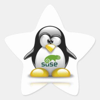 logotipo de Linux del openSuzie Pegatina En Forma De Estrella