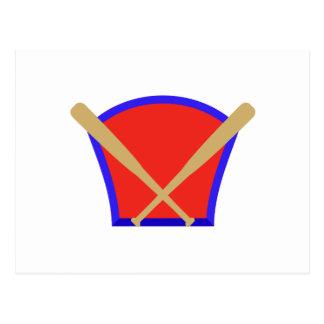 Logotipo de los bates de béisbol tarjeta postal