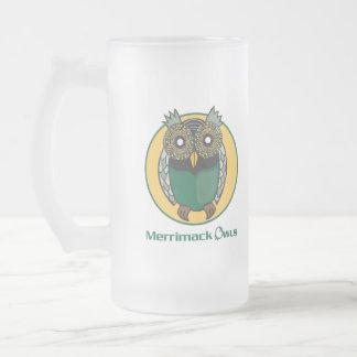 Logotipo de los búhos de Merrimack Taza De Cristal