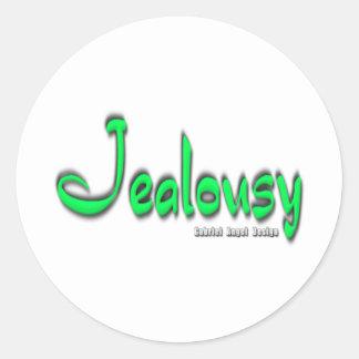 Logotipo de los celos pegatina redonda