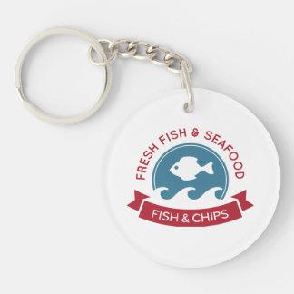 Logotipo de los mariscos de los pescado frito con llavero redondo acrílico a doble cara