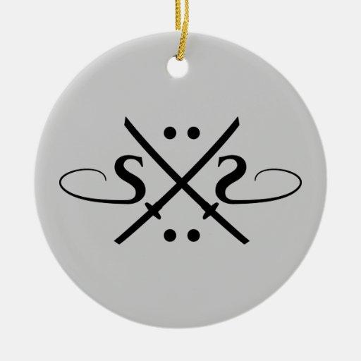 Logotipo de los ojos de serpiente adorno navideño redondo de cerámica