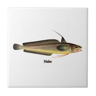 Logotipo de los pescados de la merluza azulejo cuadrado pequeño