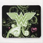 Logotipo de los remolinos del verde de la Mujer Ma Alfombrillas De Ratones