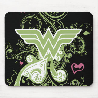 Logotipo de los remolinos del verde de la Mujer Ma Tapetes De Ratón