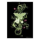 Logotipo de los remolinos del verde de la Mujer Ma Tarjeta De Felicitación