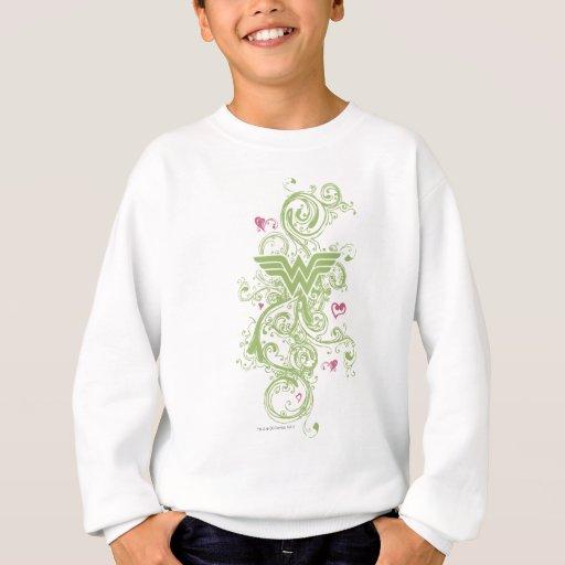 Logotipo de los remolinos del verde de la Mujer Sudadera