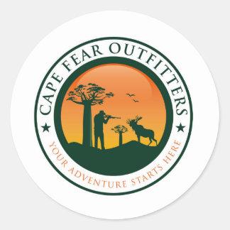 Logotipo de los vendedores de ropa confeccionada pegatina redonda