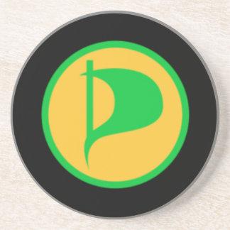 Logotipo de lujo del fiesta del pirata (véase la posavasos de arenisca