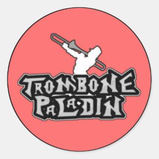 Logotipo de lujo del paladín del Trombone Pegatinas Redondas
