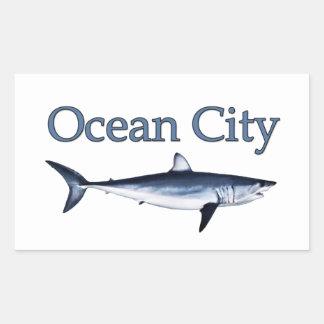 Logotipo de Maryland de la ciudad del océano Rectangular Pegatina