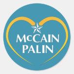Logotipo de McCain Palin Etiquetas Redondas