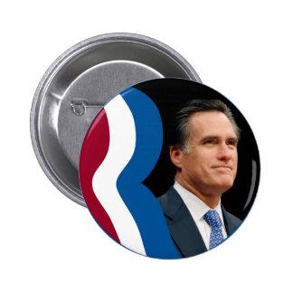 """Logotipo de Mitt Romney """"R"""" (círculo - retrato) Pin Redondo De 2 Pulgadas"""