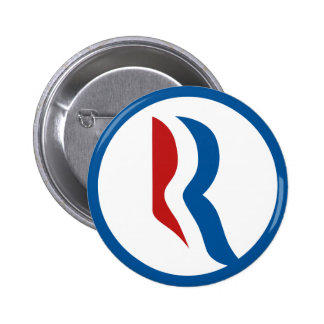 "Logotipo de Mitt Romney ""R"" Pin Redondo De 2 Pulgadas"
