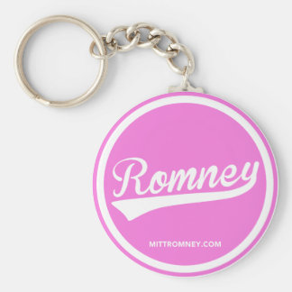 Logotipo de Mitt Romney Swoosh (rosa) 2012 Llavero Redondo Tipo Pin