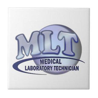 LOGOTIPO de MLT FunBlue - TÉCNICO de LABORATORIO M Azulejo Cuadrado Pequeño