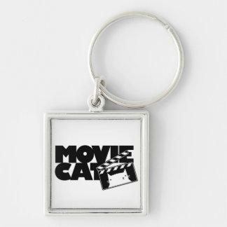 Logotipo de MovieCat Llavero Cuadrado Plateado