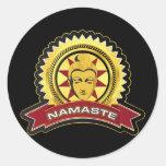Logotipo de Namaste Buda Pegatina Redonda