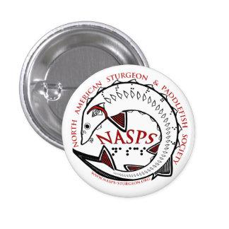 Logotipo de NASPS Botón-Blanco Pin Redondo De 1 Pulgada