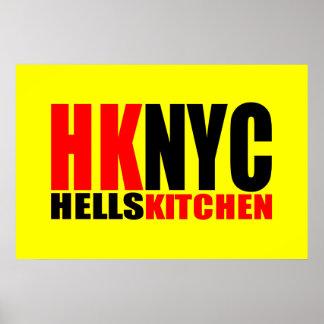 Logotipo de New York City de la cocina del infiern Póster