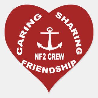 Logotipo de NF2Crew en blanco Pegatina En Forma De Corazón